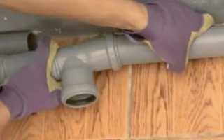 Врезка в пластиковую канализационную трубу