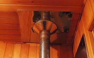 Монтаж потолочной разделки для дымохода