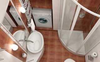 Дизайн маленького совмещенного санузла с душевой кабиной
